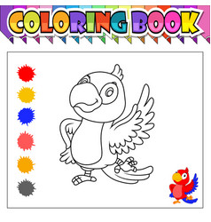 Coloring book happy bird cartoon vector