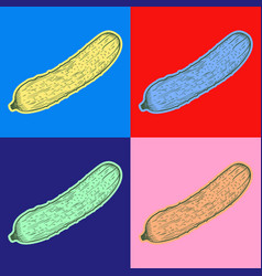 Cucumber pop art style andy warhol style vector