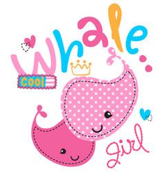 Cute cartoon pink whales girl vector