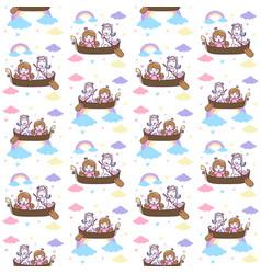 cute unicorn and princess ride a boat seamless vector image