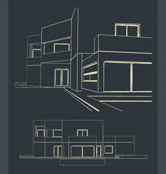 drawing of a modern house vector image