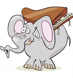 Elephant with piano vector