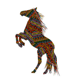 Ethnic motifs patterned bucking horse vector