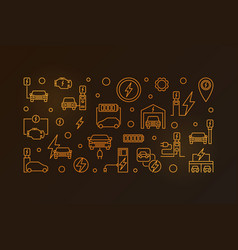 ev charging station outline golden vector image