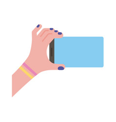 Female hand lifting smartphone horizontally flat vector