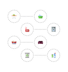 Flat icons laundry garbage container vector