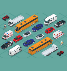 Flat isometric high quality city transport car vector