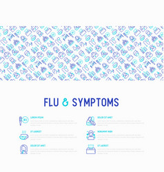 Flu and symptoms concept thin line icons vector