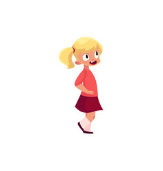 Funny preschool little girl with two ponytails vector