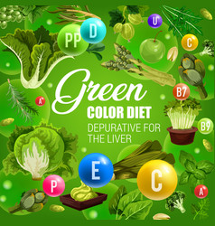 Green color food healthy vegetables detox diet vector