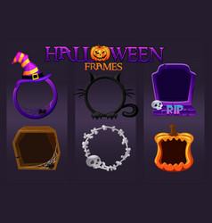 Halloween empty avatar frames scary templates vector