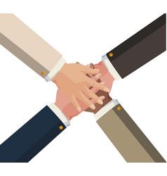 Hands teamwork unity icon vector