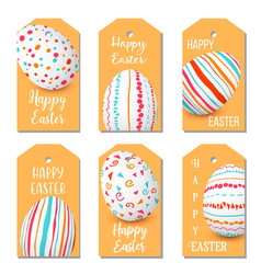 Happy easter eggs golden labels set 6 ribbon tags vector