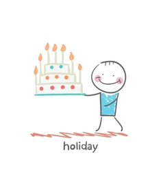 holiday with cake vector image vector image