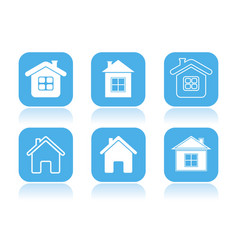 home icons set of square blue icons with vector image