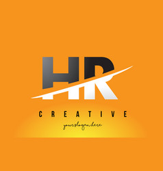 Hr h r letter modern logo design with yellow vector