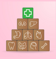 human organs icons on wooden blocks isolated on a vector image