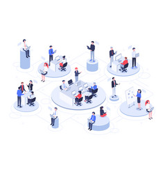 isometric virtual office business people working vector image