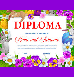 Kids education diploma with easter eggs bunnies vector