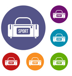 large sports bag icons set vector image