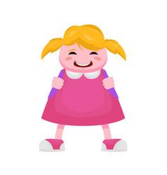 Little girl from beginning class in a pink vector