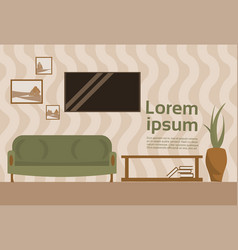 Living room interior with sofa and tv set hanging vector