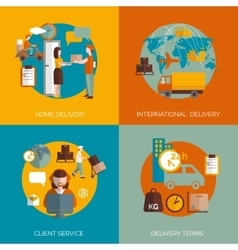 Logistic delivery concept 4 flat icons vector