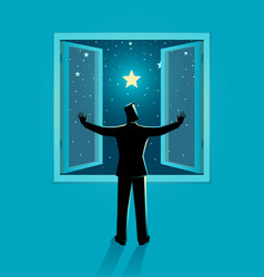 Man opening window wide to see clear starry vector
