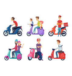 man ride motorcycle fast bike scooter vector image