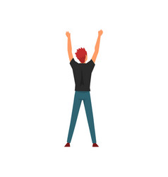 Man standing with raising hands at open air vector