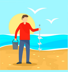 man take garbage from sea beach background flat vector image