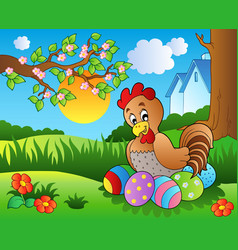 meadow with hen and easter eggs vector image