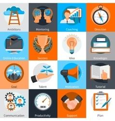 Mentoring Coaching Concept Icons Set vector