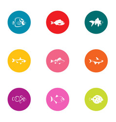 minnow icons set flat style vector image