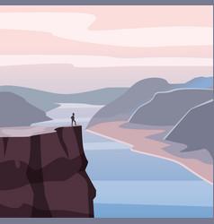 Mountain landscape canyon river rocks open vector