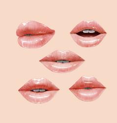Nude lips set vector