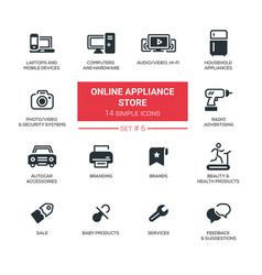 Online appliance store - modern simple thin line vector