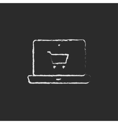 Online shopping icon drawn in chalk vector image