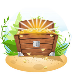 Open treasure chest cartoon vector