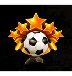 Orange sports emblem football vector image