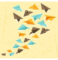 paper planes on the grunge background vector image