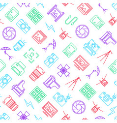 photography signs thin line seamless pattern vector image