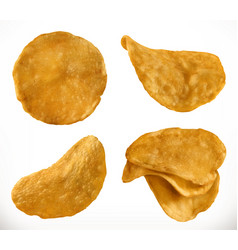 potato chips 3d realistic icon set vector image