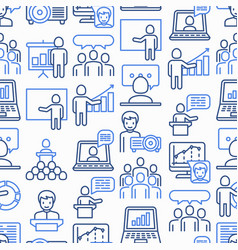 Presentation seamless pattern with thin line icons vector