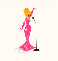 retro cartoon woman singer on isolated background vector image