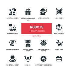 Robots - line design silhouette icons set vector