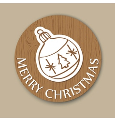 Round woody christmas greeting card with ball vector