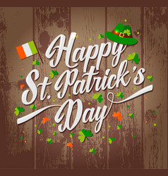 saint patrick s day background on wooden texture vector image vector image