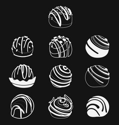 set of chocolates collection of stylized vector image