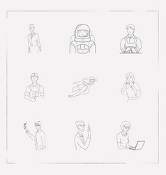 set of person icons line style symbols with karate vector image